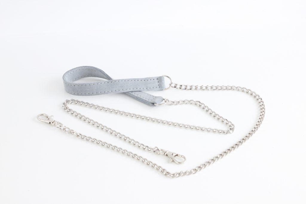 Łańcuszek srebrny do torebki z elementem skórzanym - Fabiola