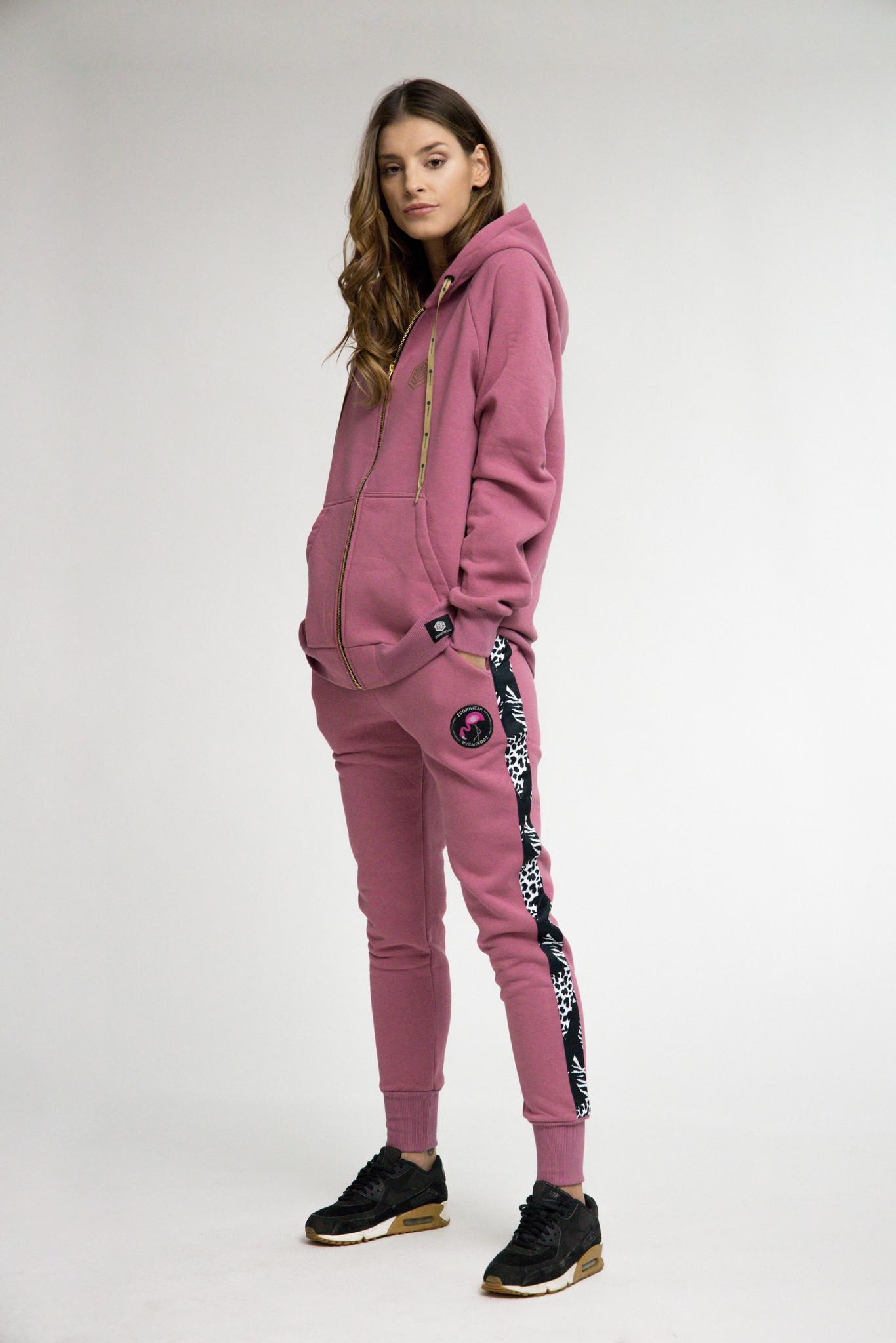 Spodnie Shaka Lilac Stripe B&W - spodnie dresowe- spodnie lilowe - spodnie luźne - Zooki Wear