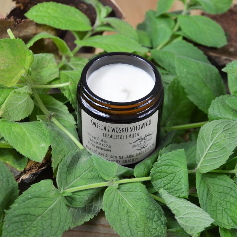 Świeczka eukaliptusowa wykonana jest w 100% z ekologicznego, roślinnego wosku sojowego. W czasie palenia wydobywają się z niej naturalne olejki eteryczne z EUKALIPTUSA i MIĘTY, co dodatkowo wzbogaca świecę o efekt aromaterapii. Jedna świeca wypełni zapachem całe pomieszczenie. Czym różni się świeca ZAPACHOWA od świecy AROMATERAPEUTYCZNEJ? Oprócz naturalnego roślinnego wosku sojowego świece AROMATERAPEUTYCZNE zawierają wyłącznie naturalne olejki eteryczne, które pozytywnie wpływają na ciało i psychikę człowieka. O wiele tańsze syntetyczne odpowiedniki takich właściwości nie posiadają. ZAPACH: świeży, ostry, pieprzowy, orzeźwiający 100% naturalny olejek eteryczny EUKALIPTUS ma działanie antyseptyczne, grzybobójcze, przeciwzapalne, tonizujące. Zapach świeży, ostry, słodki i przenikliwy. Doskonały na przeziębienia, grypę kaszel, ból gardła. Chroni organizm przed chorobami i infekcjami wirusowymi. Wzmacnia system odpornościowy. Olejek eukaliptusowy działa antydepresyjnie. Pomaga przy niezde