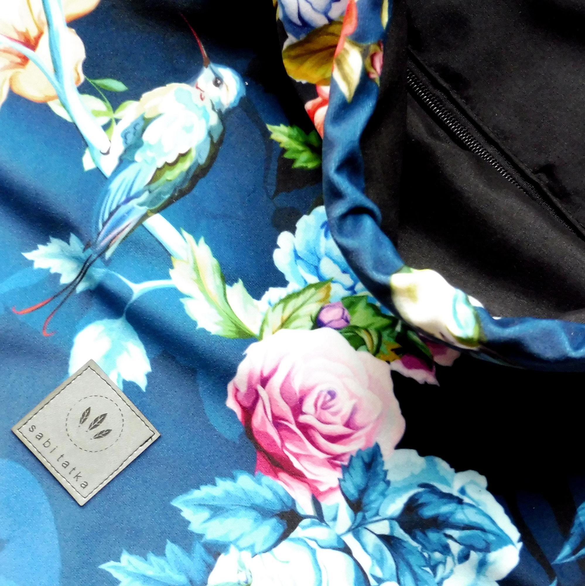 Plecak welurowy Kolibry Róże - miękki plecak worek z weluru - Sabi Tatka