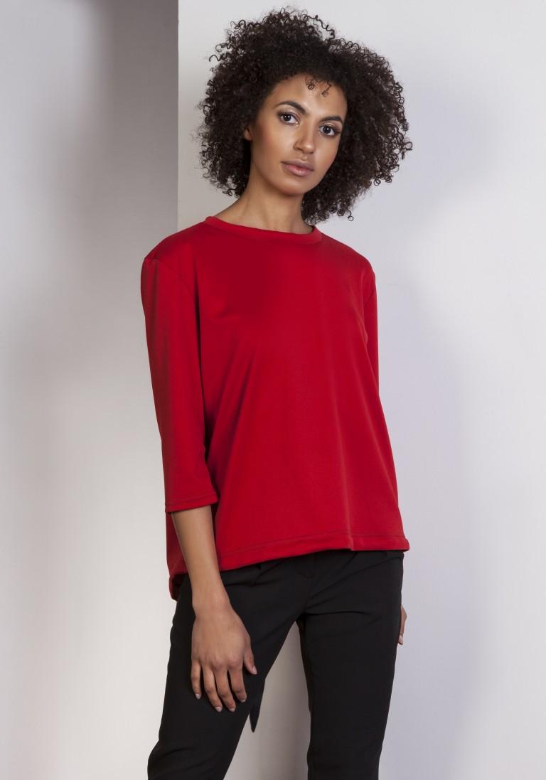 Luźna bluzka – frak, BLU140 czerwony - Lanti