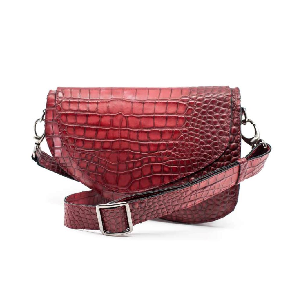 Carole 2 - torebka czerowana ze skóry bydlecej - torebka na pasek mała - torebka z krótkim paskiem - Bolsa