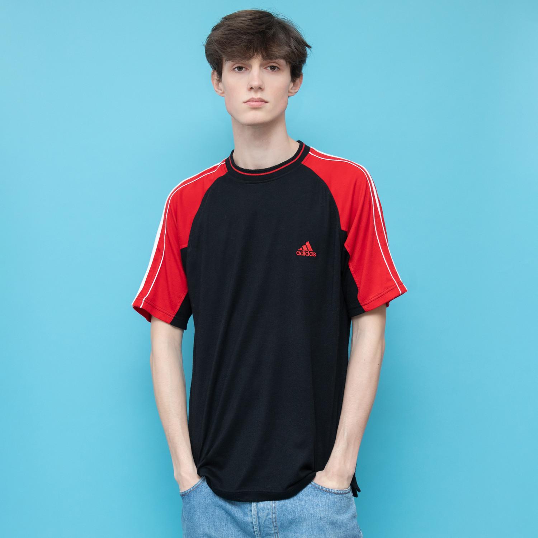 Czarno czerwony t-shirt ADIDAS - KEX Vintage Store   JestemSlow.pl