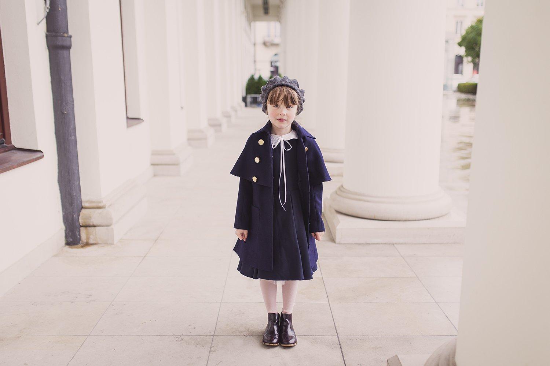 Płaszcz granatowy wełna granatowy - Domino.little.dress