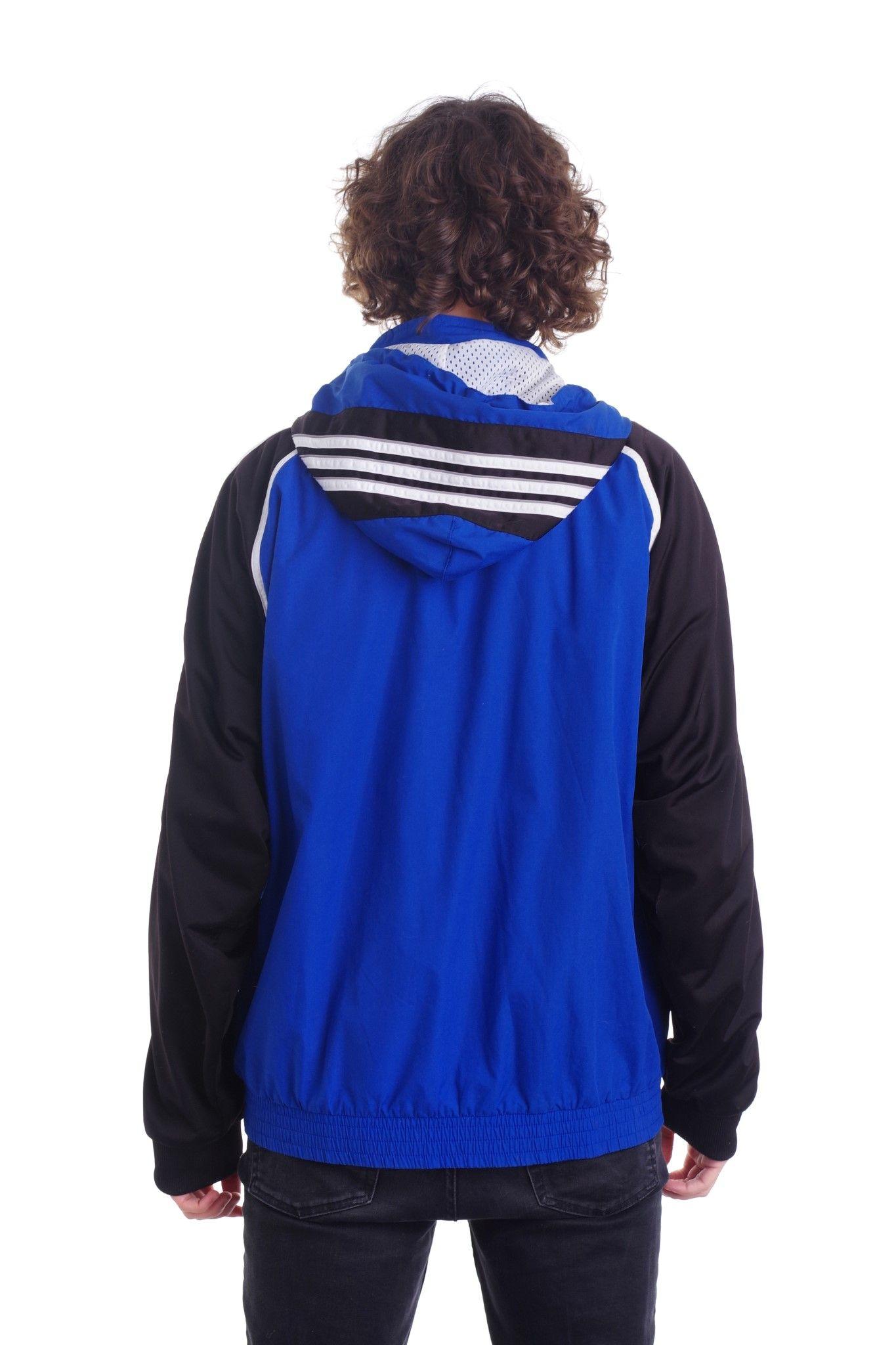 Adidas czarno-niebieska bluza z kapturem z lat 90-tych - KEX Vintage Store | JestemSlow.pl