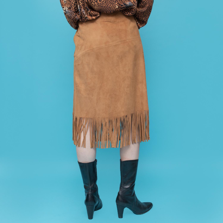 Skórzana spódnica z frędzlami - KEX Vintage Store | JestemSlow.pl