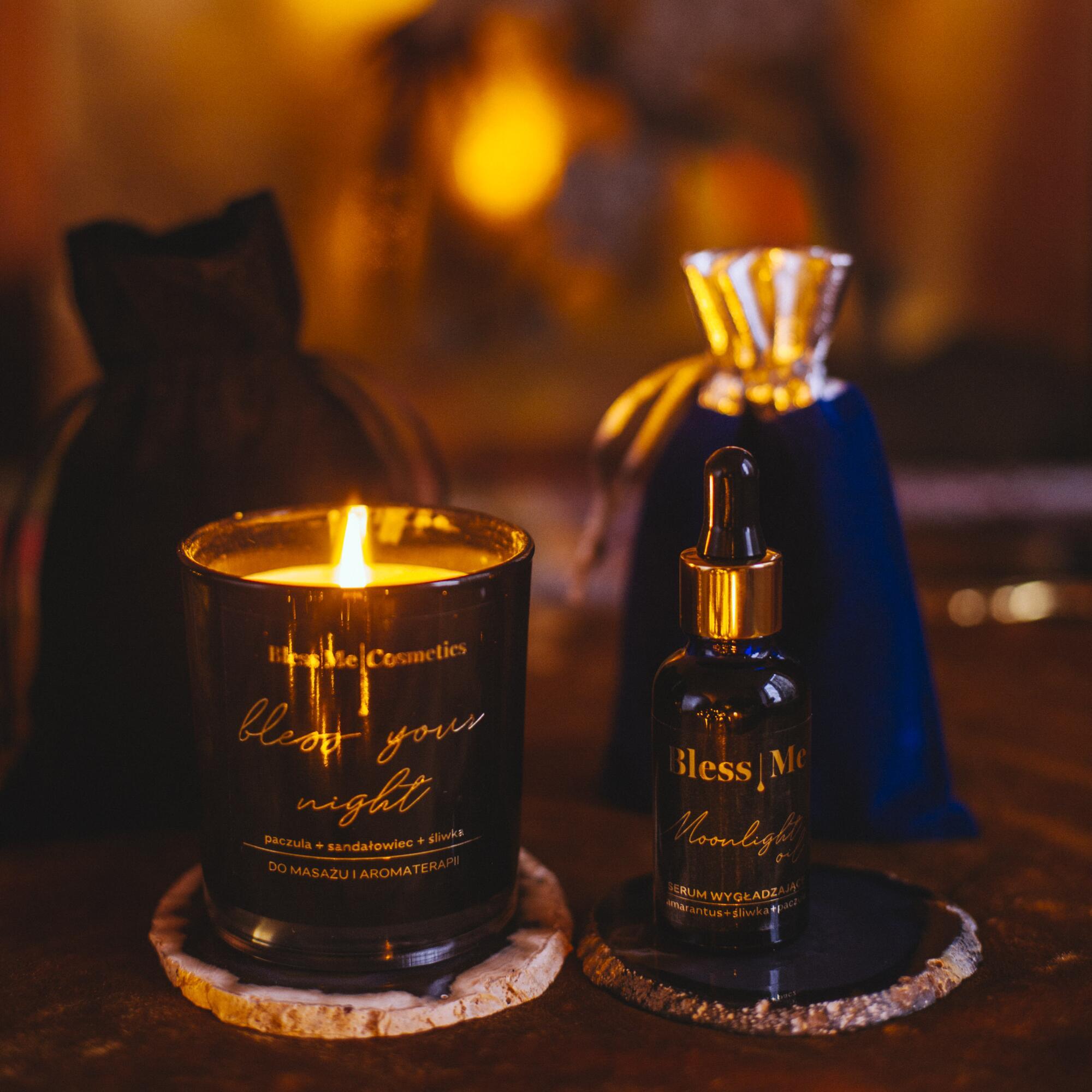 Zestaw: Serum Wygładzające Moonlight Oil 30 ml i Świeca Bless Your Night - Bless Me Cosmetics | JestemSlow.pl