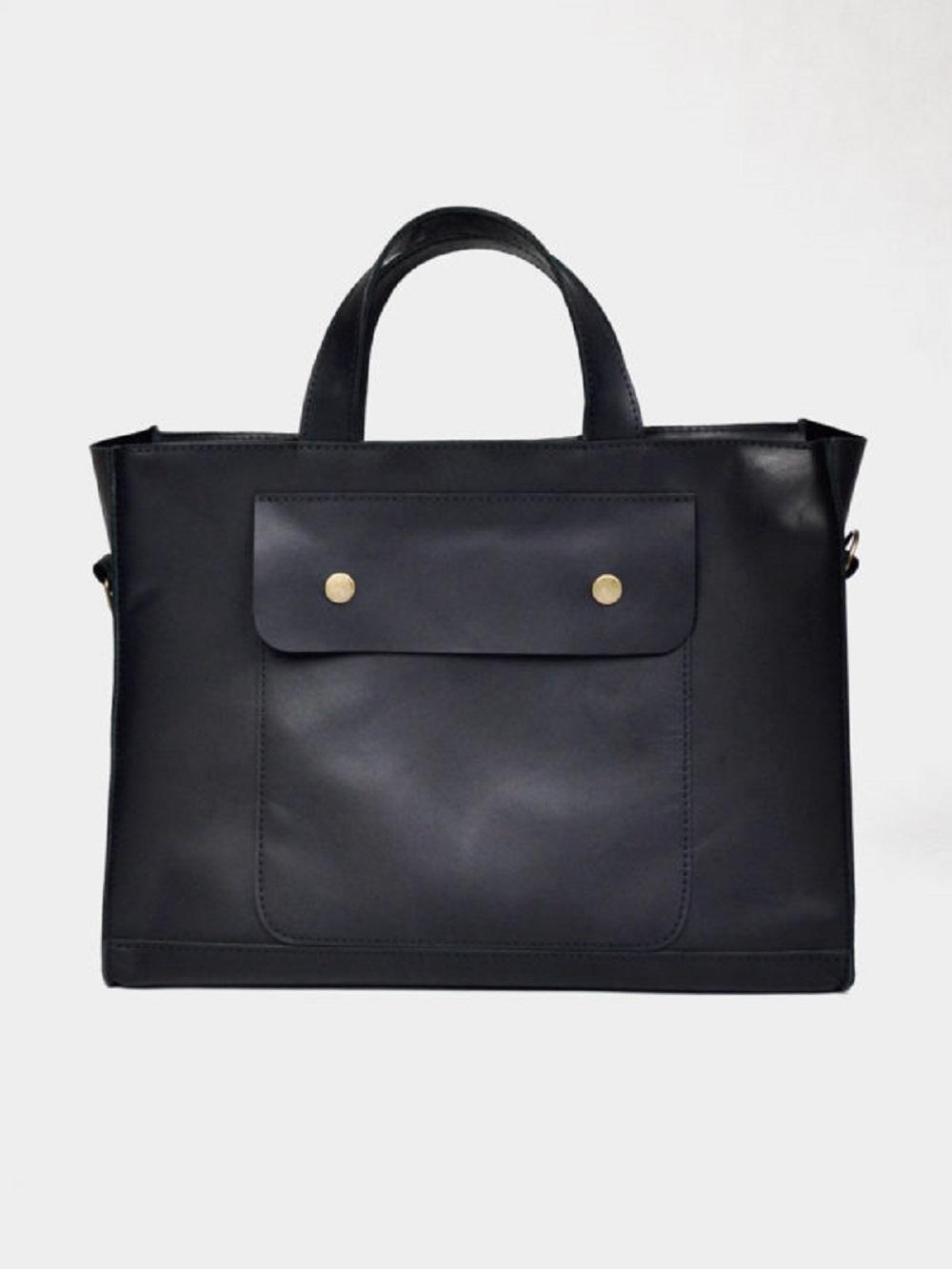 TORBA DAMSKA T03 DEEP BLACK - torebka unisex czarna - torebka z regulowanym paskiem unisex - torba skórzana czarna retro - Lezerton