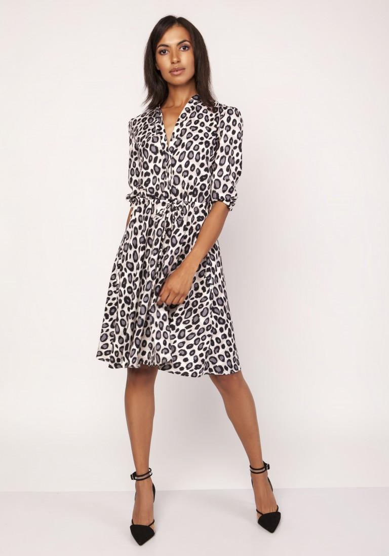 Sukienka o rozkloszowanym dole, SUK155 panterka - Lanti