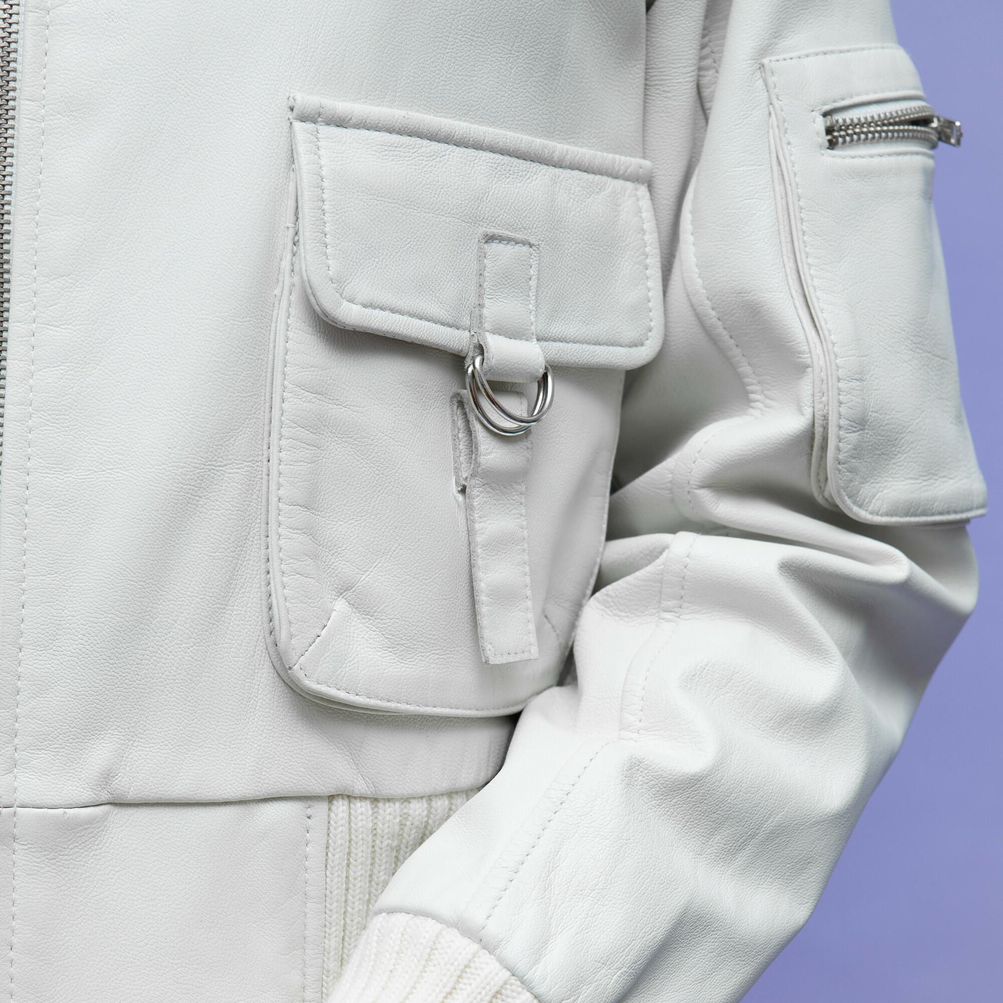 Biała kurtka ze skóry ze ściągaczem - KEX Vintage Store | JestemSlow.pl
