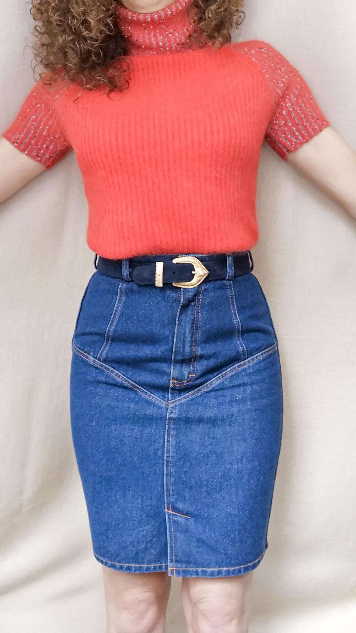 Ołówkowa jeansowa spódnica vintage - PONOŚ SE vintage shop | JestemSlow.pl