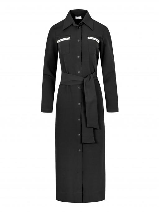 Długa sukienka w stylu militarnym, SUK157 czarny - Lanti | JestemSlow.pl