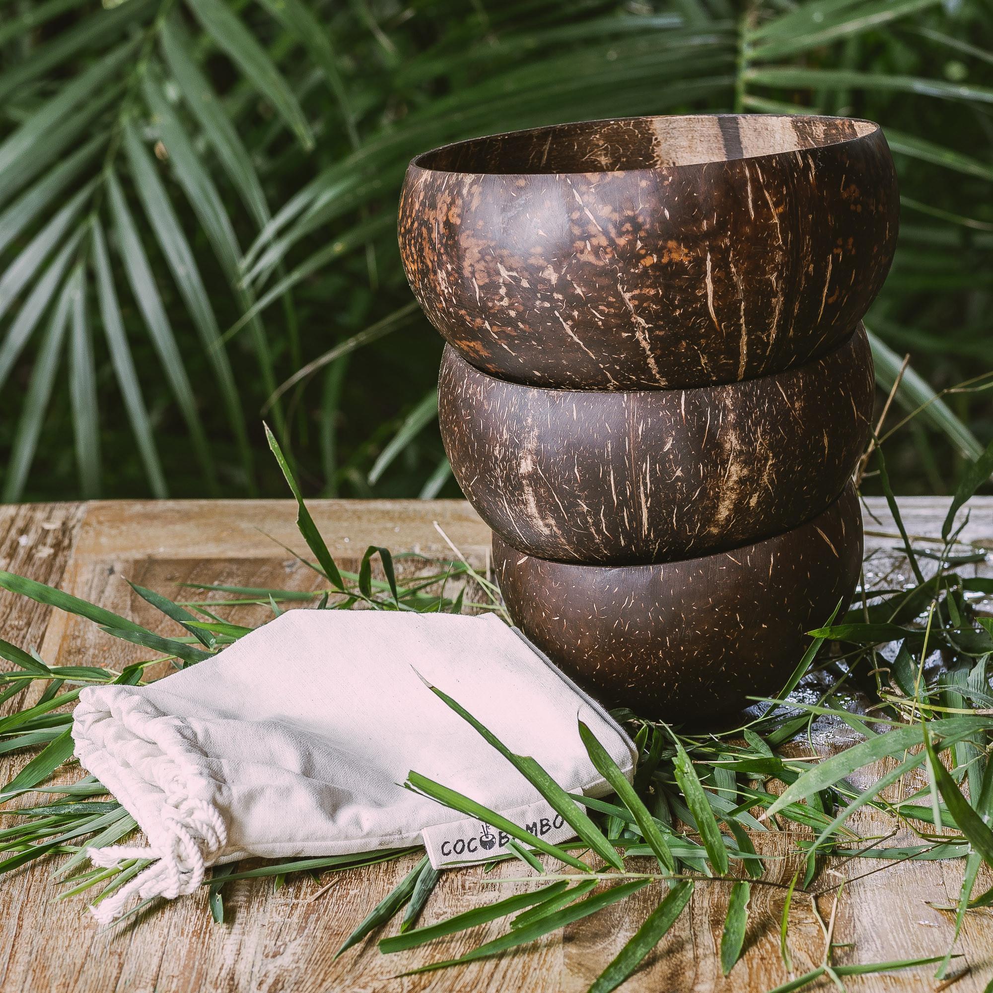 Komplet 3 kokosowych misek (duża, średnia, mała + bawełniany worek) - COCOBAMBOO
