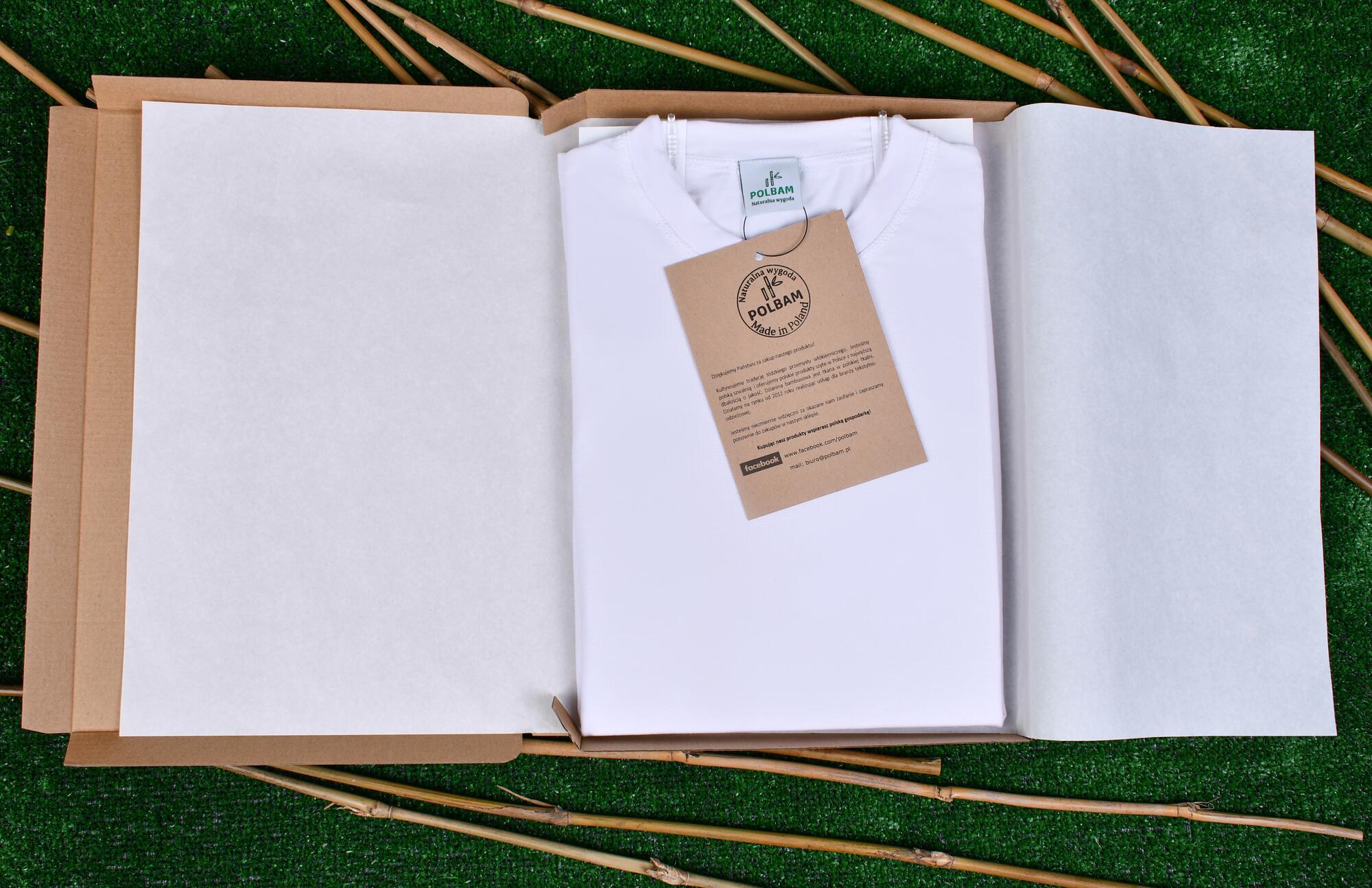 Bambusowy T-shirt  kolor biały, rozmiar M - POLBAM   JestemSlow.pl