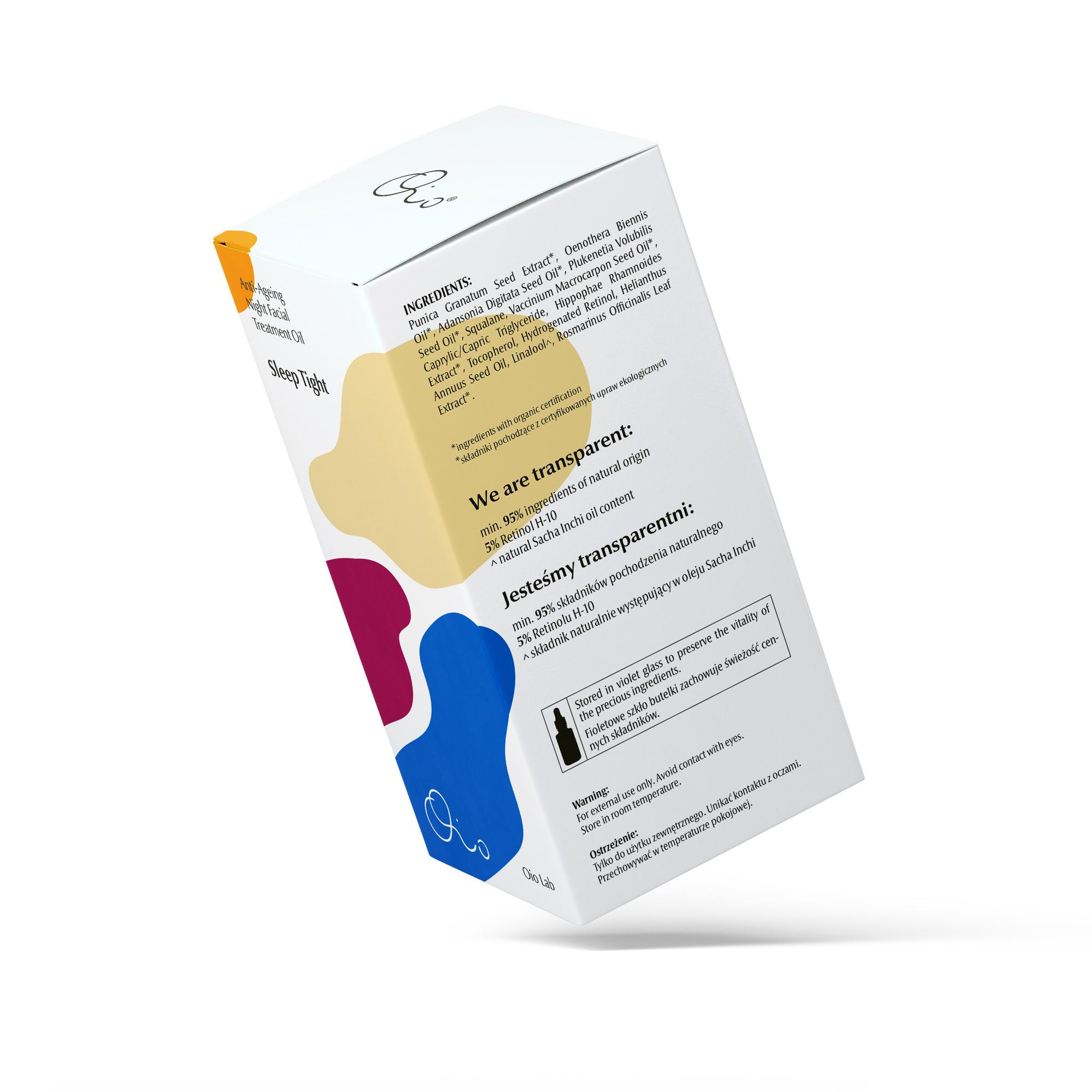 Sleep Tight Kuracja Przeciwstarzeniowa Na NocDo Twarzy Połączenie zaawansowanej, stabilnej formy 5% Retinolu H-10, ekstraktów botanicznych i organicznych olejków w nocnej kuracji przeciwstarzeniowej do twarzy. Wysokie stężenie uwodornionego retinolu stymuluje produkcję kwasu hialuronowego oraz uelastycznia skórę. Olejkowe serum zostało wzbogacone w ekstrakty z pestek granatu i owoców rokitnika otrzymywanych zaawansowanymi metodami*. Kuracja zawiera organiczne, tłoczone na zimno oleje z nasion żurawiny, wiesiołka, baobabu i Sacha Inchi oraz wspomaga naturalne procesy regeneracyjne skóry. Serum-eliksir nadaje zdrowy koloryt, uelastycznia i przeciwdziała oznakom starzenia się Twojej skóry. *pozyskane za pomocą ekstrakcji nadkrytycznym dwutlenkiem węgla (CO₂) Kuracja przeznaczona jest dla każdego typu skóry, szczególnie z widocznymi oznakami starzenia się. Pojemność: 30 ml Jesteśmy transparentni:99,5% składników pochodzenia naturalnego Kuracja ma naturalny zapach, z wyczuwalną nutą granatu