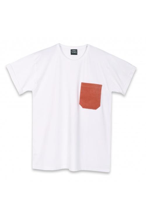 Męski t-shirt Peace, Love & Rock&Roll Biały z czerwoną kieszonką - Kokoszka