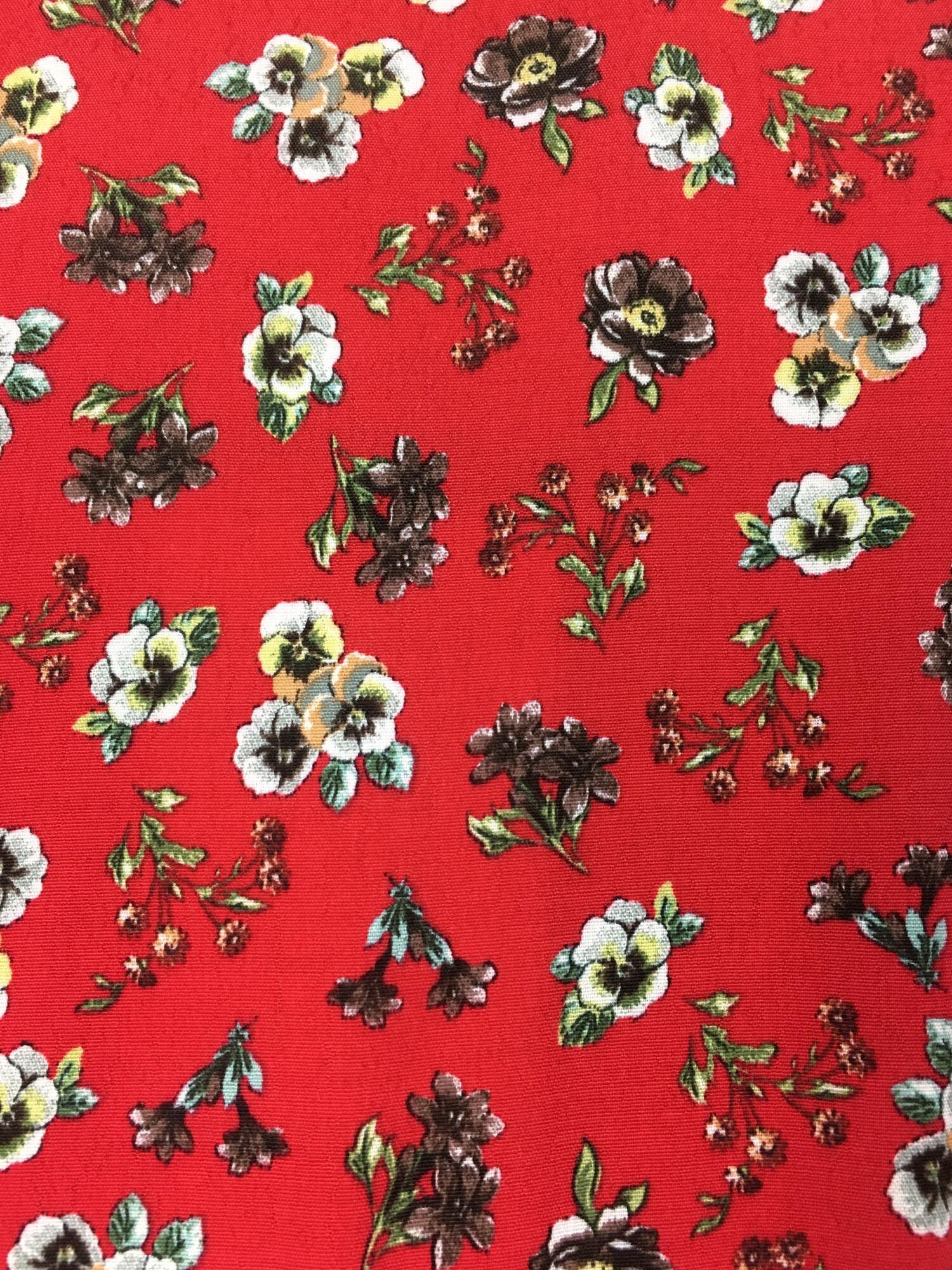 Sukienka kopertowa - czerwona w kwiatki Polanka - Slow Store | JestemSlow.pl