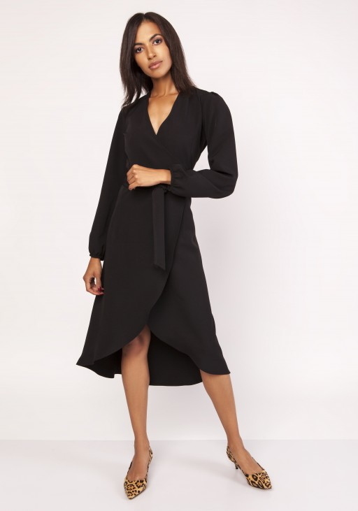 Asymetryczna, kopertowa sukienka, SUK160 czarny - Lanti | JestemSlow.pl