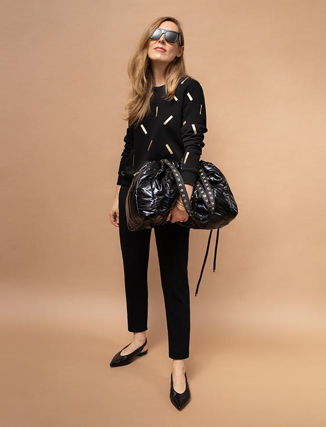Czarna bluza w złote printy DONATELLA - Cocoon | JestemSlow.pl
