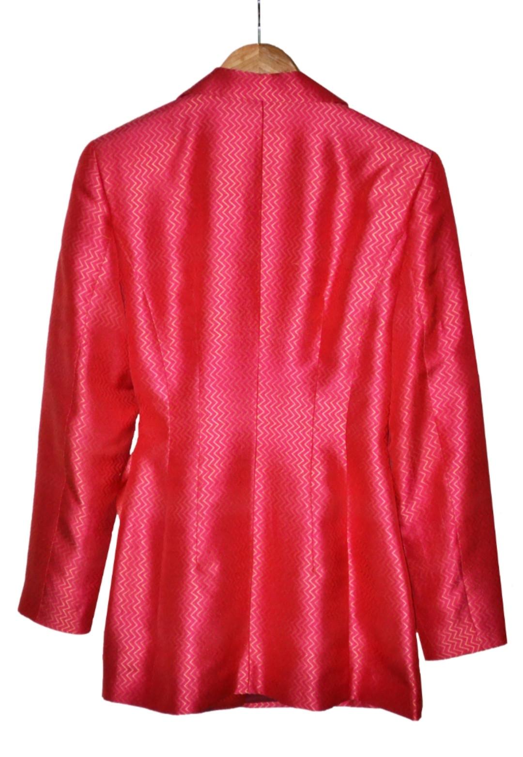 Jedwabny żakardowy garnitur w kolorze malinowym - KEX Vintage Store | JestemSlow.pl