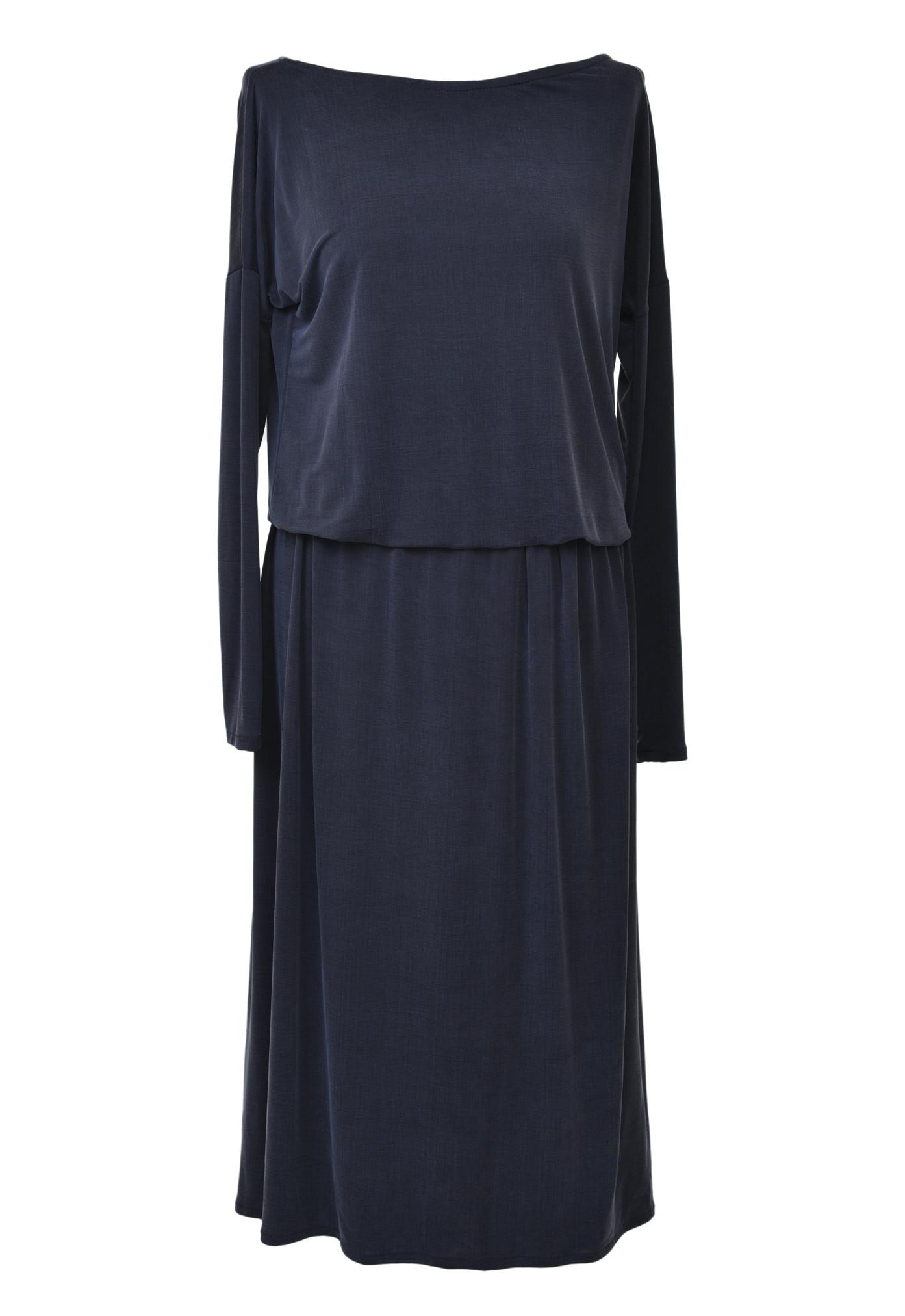 Sukienka Midi Cupro Carbon WOMAN  czarna sukienka midi mała czarna polski projektant - The Same