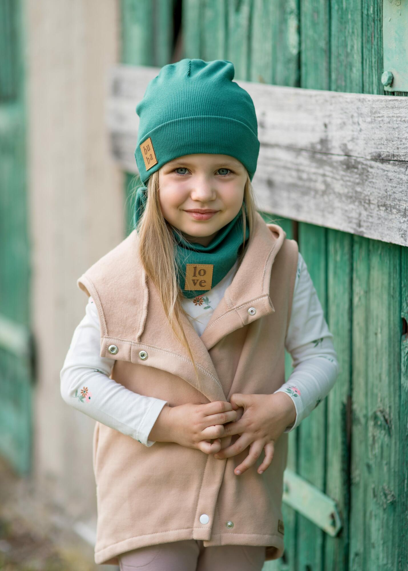Czapka dziecięca wiosenno jesienna z kominem -butelkowa zieleń - Bubalove   JestemSlow.pl