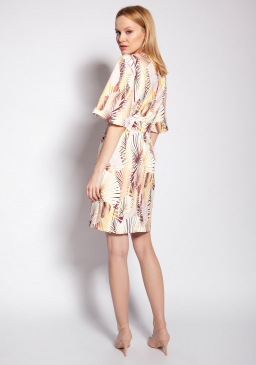 Sukienka dopasowana, SUK188 abstrakcyjne liście - Lanti | JestemSlow.pl