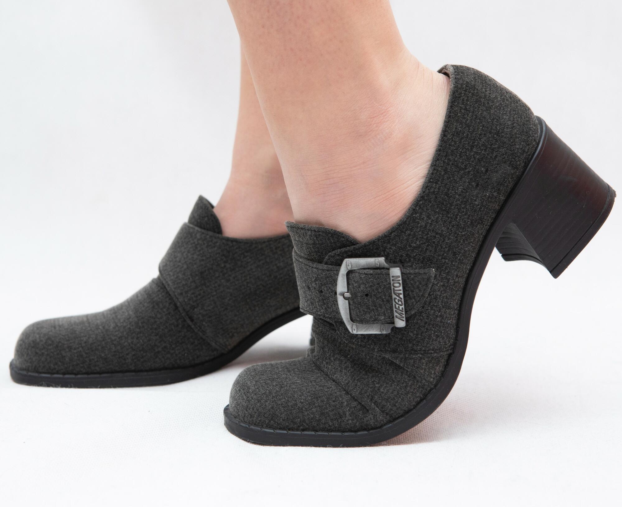 Szare buty z klamrą na klockowym obcasie r. 40 - KEX Vintage Store | JestemSlow.pl