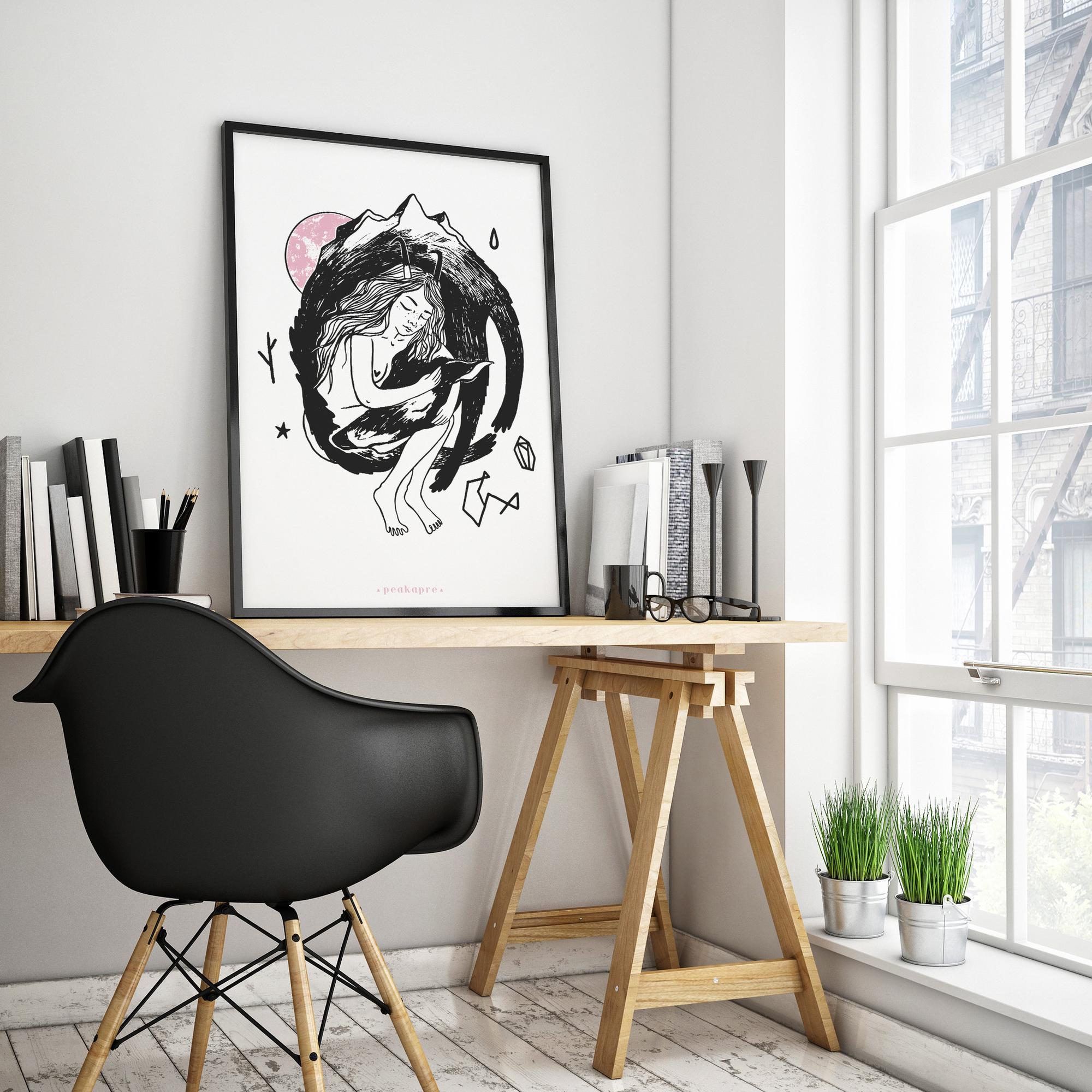 """Plakat artystyczny z grafiką Peakapre """"Wolf Merge"""" - kolekcja Merkury - Peakapre"""