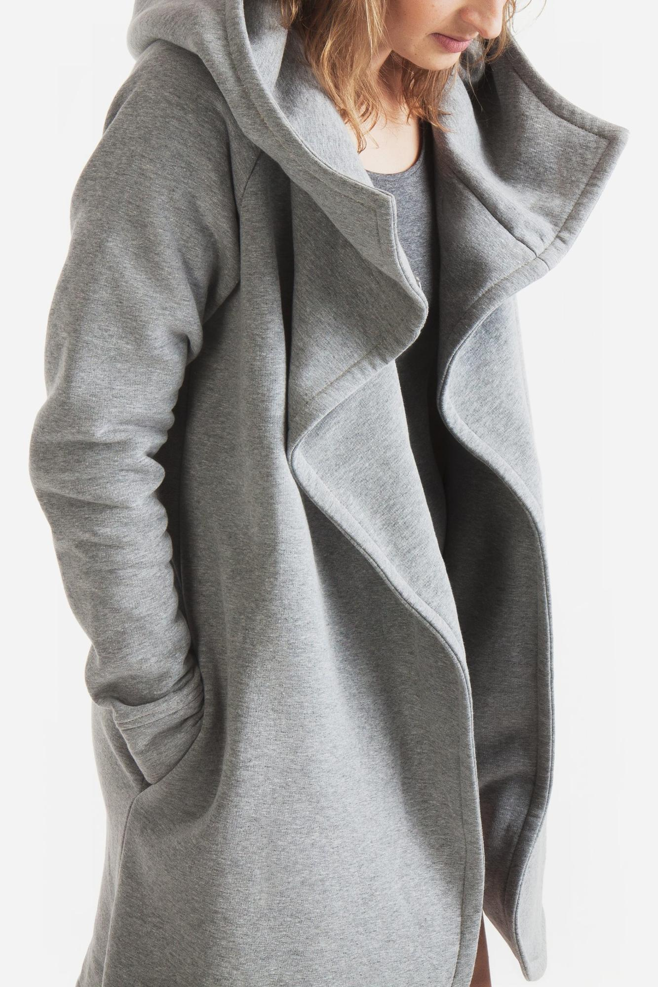 Płaszcz szary damski A05 - BIJU