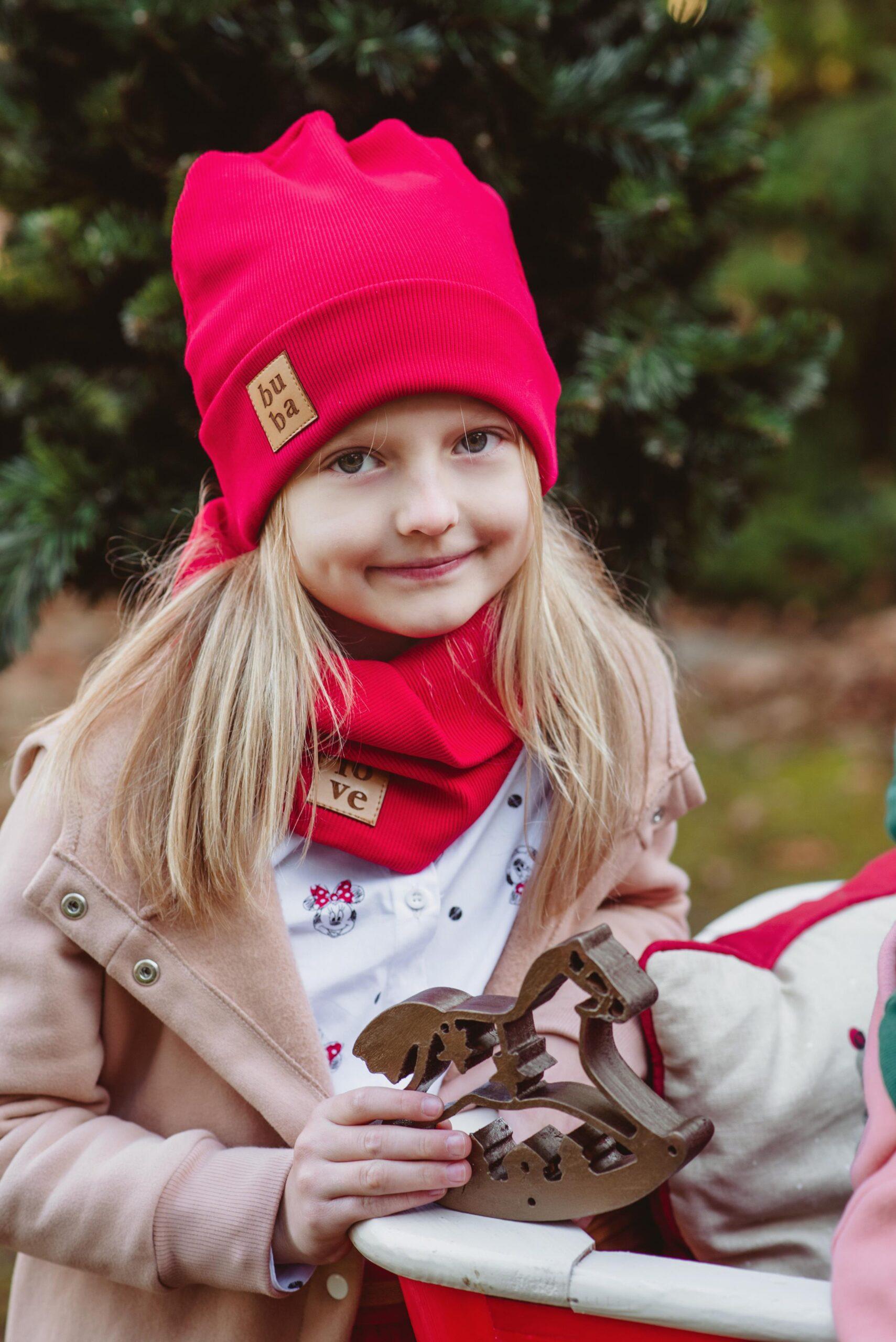 Czapka dziecięca wiosenno jesienna z kominem- czerwona - Bubalove | JestemSlow.pl