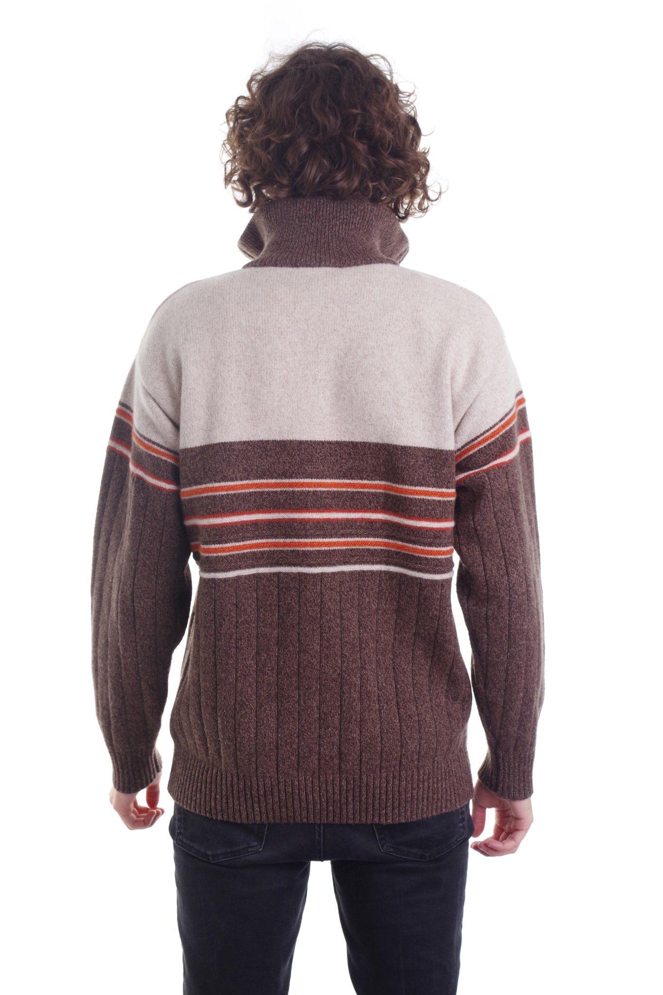 Brązowy sweter z kołnierzem marki CEFERS styl włoski - KEX Vintage Store   JestemSlow.pl