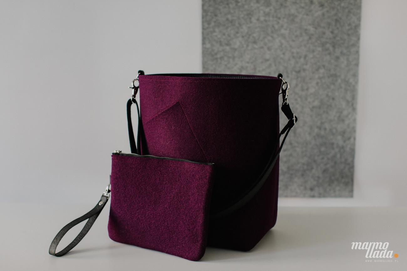 ZESTAW torebka filcowa na skos + kopertówka filcowa duża z czarnymi dodatkami - Marmollada