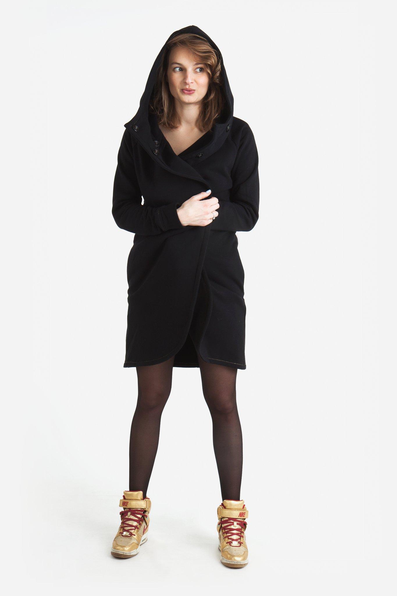 Płaszcz czarny damski A01 - BIJU