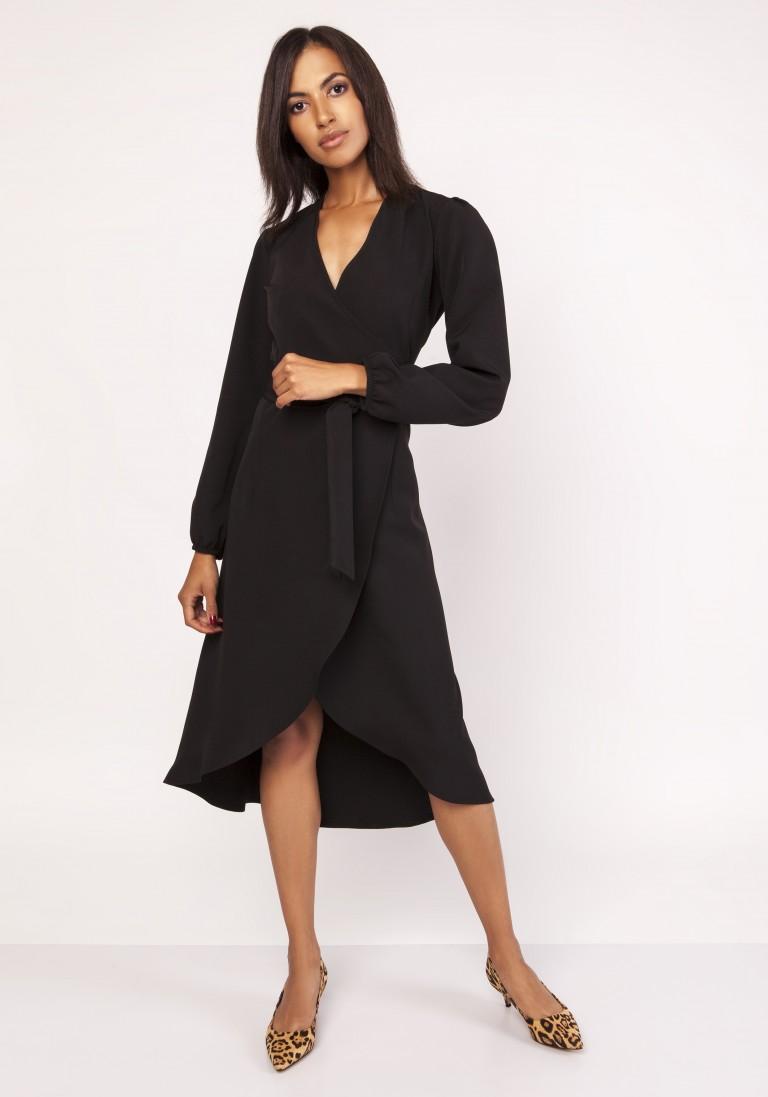 Asymetryczna, kopertowa sukienka, SUK160 czarny - Lanti