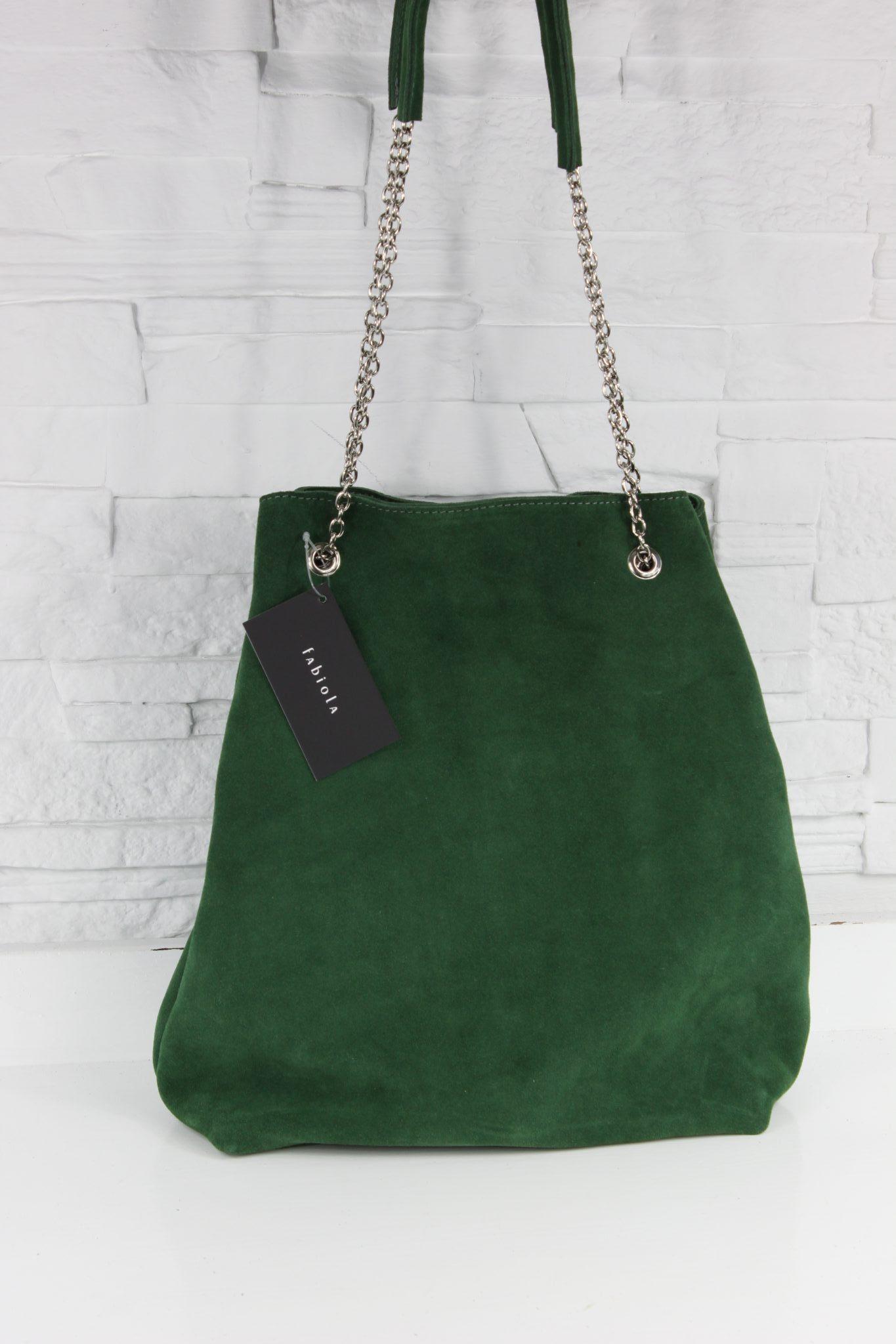 Zamszowy worek na łańcuszku butelkowa zieleń - Fabiola