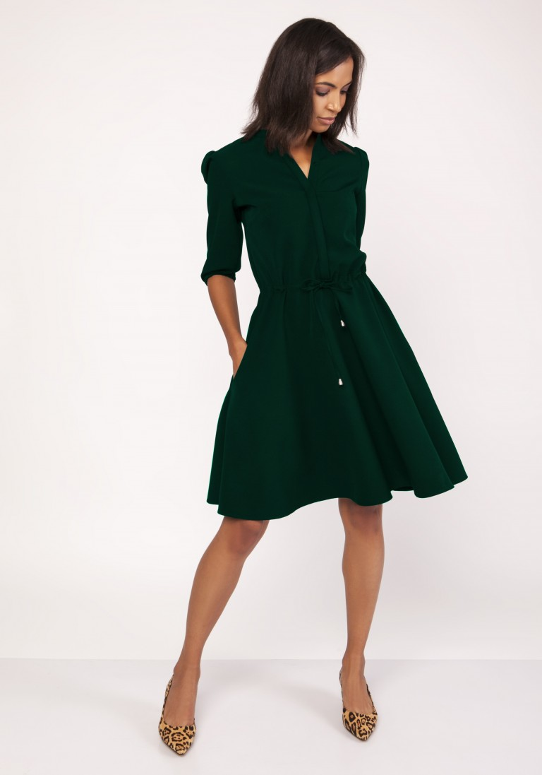 Sukienka o rozkloszowanym dole, SUK156 butelkowa zieleń - Lanti