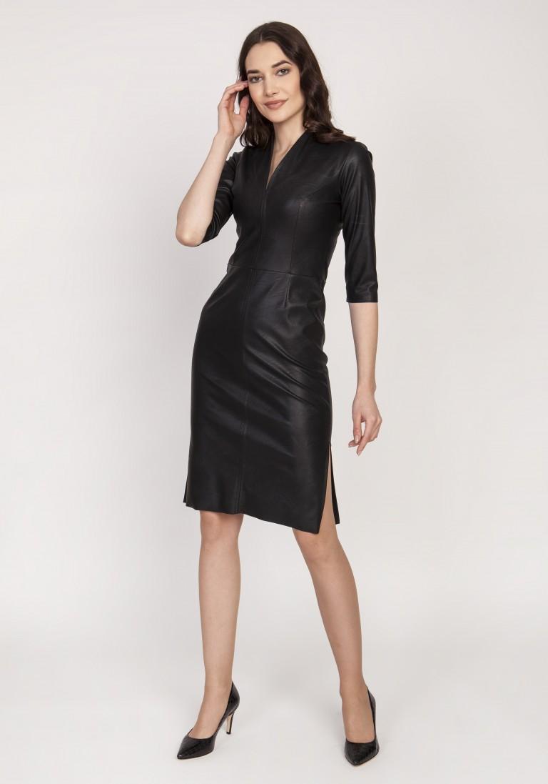 Skórzana sukienka, SUK178 czarny - Lanti