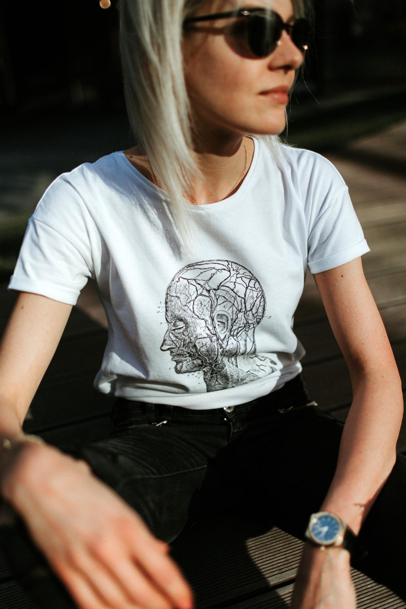 T-shirt damski, oversize - głowa - Organic Shapes