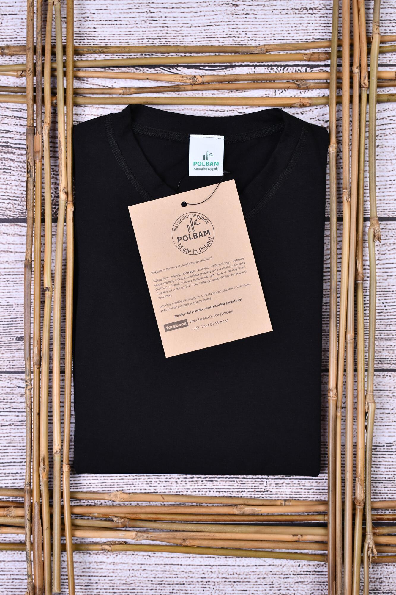 Bambusowy T-shirt  kolor czarny, rozmiar 2XL - POLBAM   JestemSlow.pl