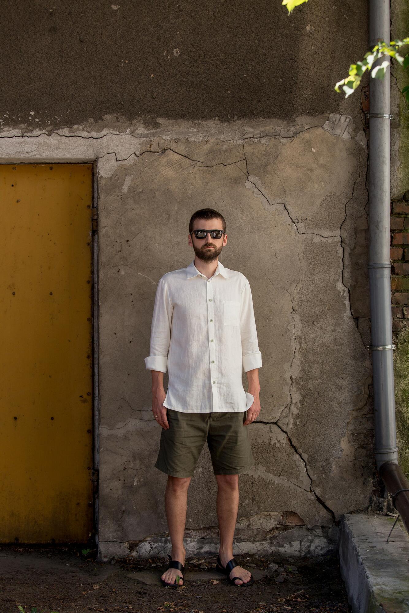 Koszula lniana biała męska - Bäckerei Bytom | JestemSlow.pl