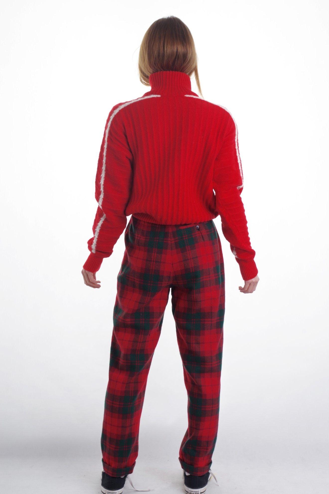 Czerwony wełniany sweter golf 100% pure new wool - KEX Vintage Store | JestemSlow.pl