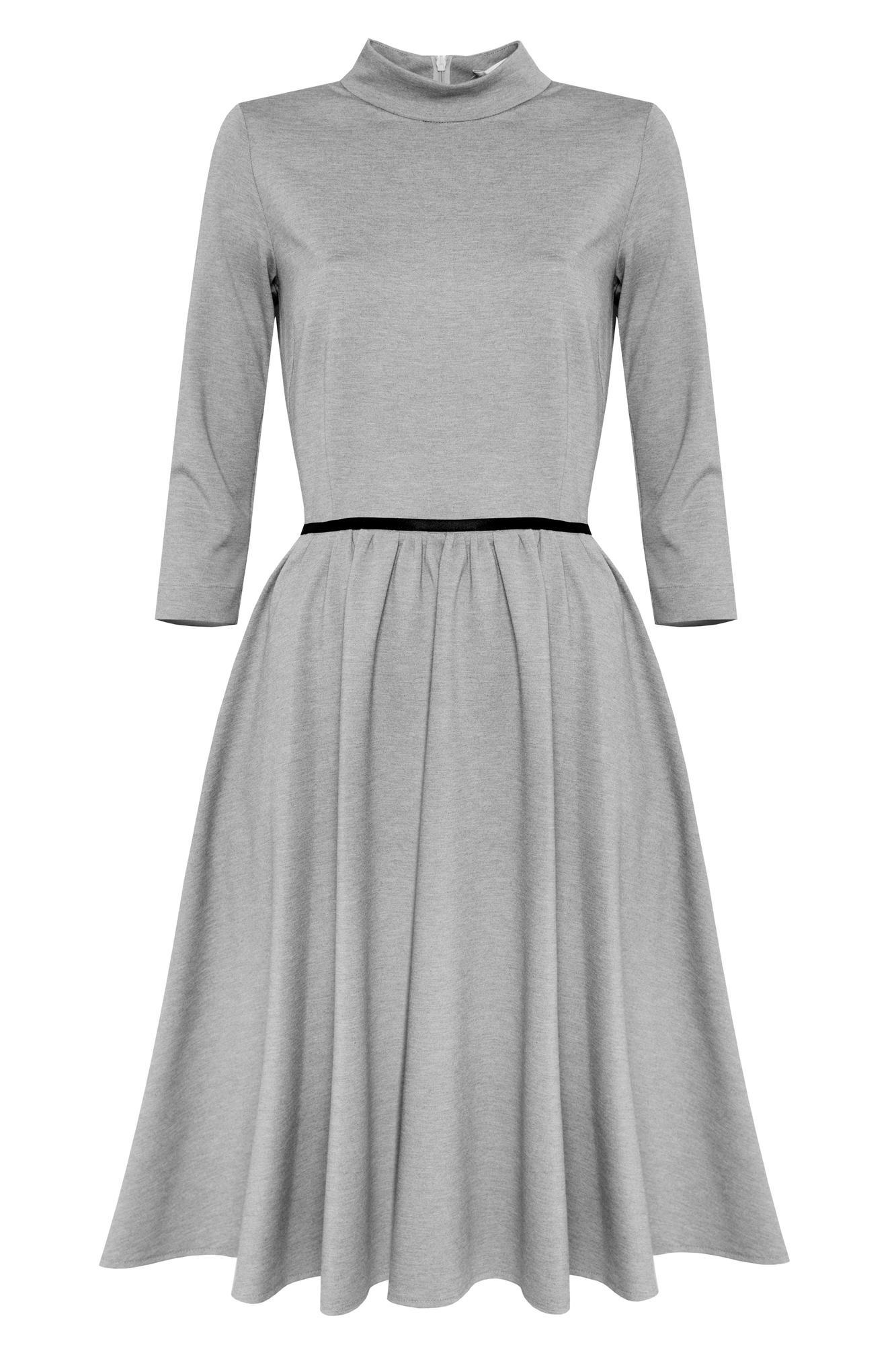 Popielata sukienka ze stójką PALOMA polski projektant - Kasia Miciak design