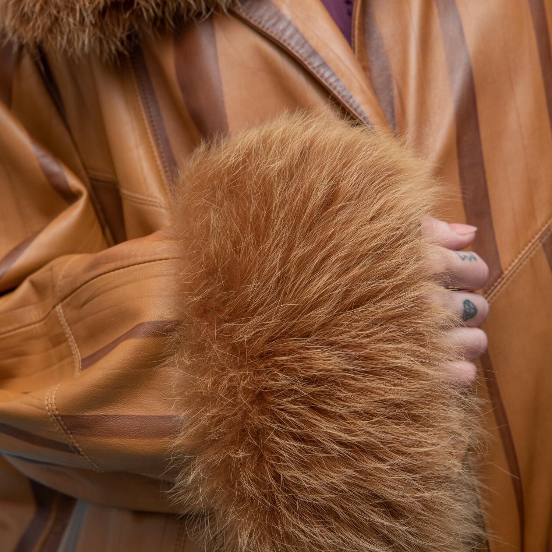 Skórzany płaszcz z futerkiem - KEX Vintage Store | JestemSlow.pl
