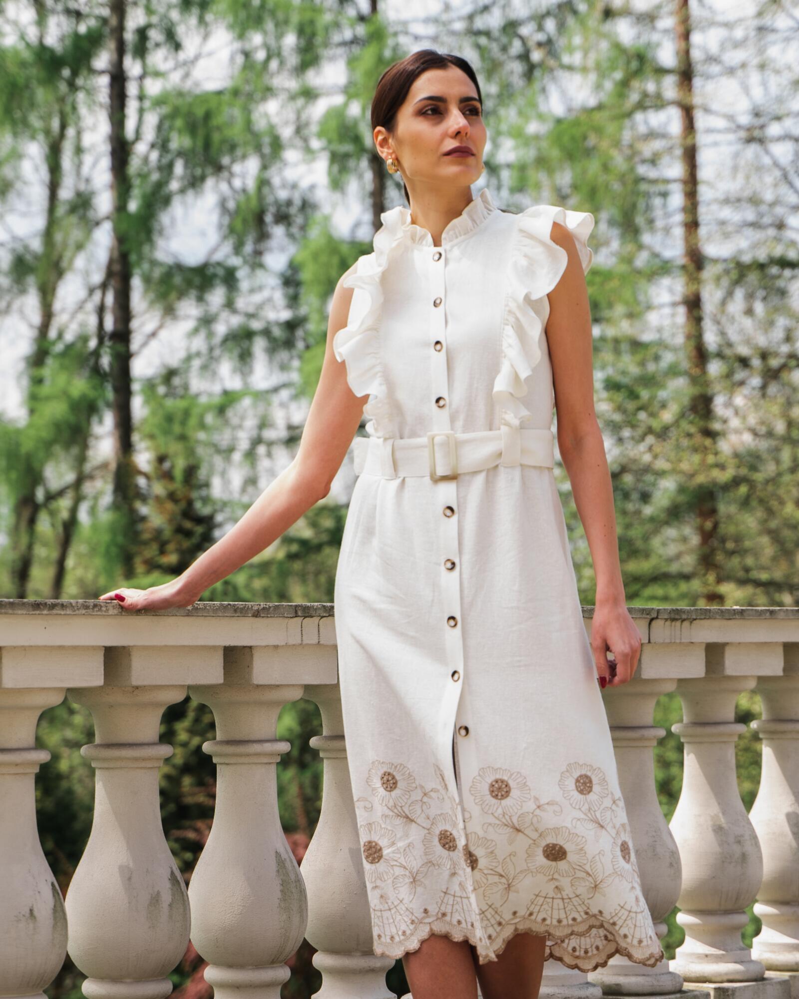 Sukienka lniano-bawełniana FLORENTINA - SYLVIA DARA SYLWIA DYDA | JestemSlow.pl