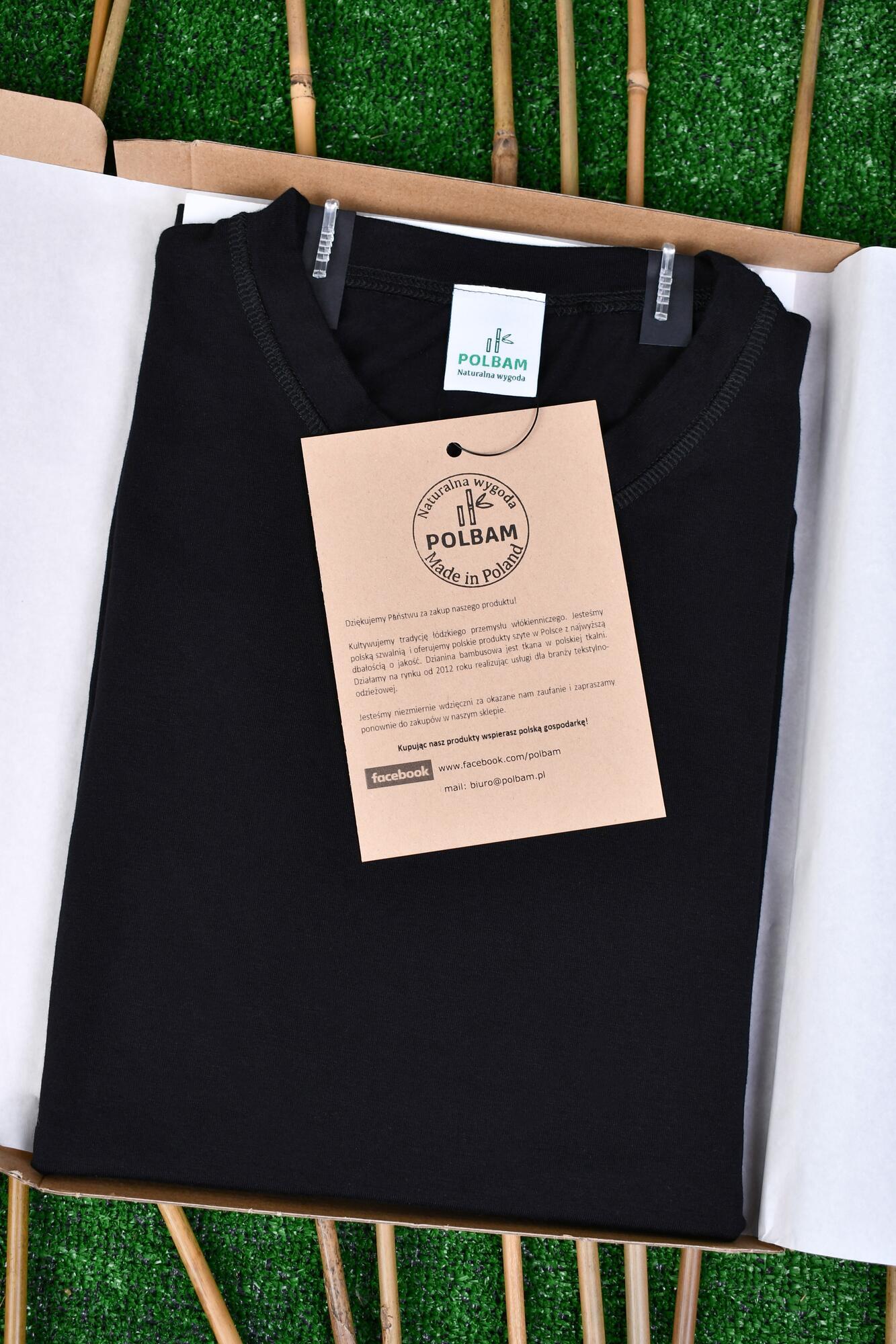 Bambusowy T-shirt  kolor czarny, rozmiary M - POLBAM | JestemSlow.pl