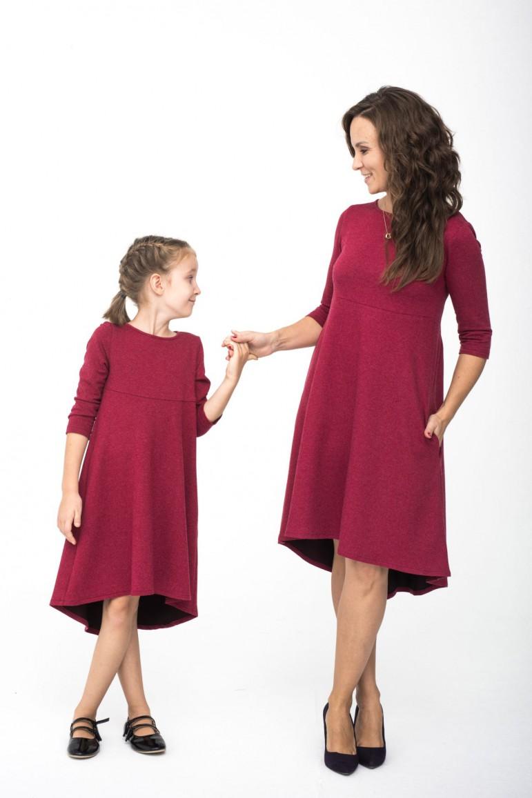 Komplet sukienek dla mamy i córki z przedłużonym tyłem - Burgund - Lovemade   JestemSlow.pl