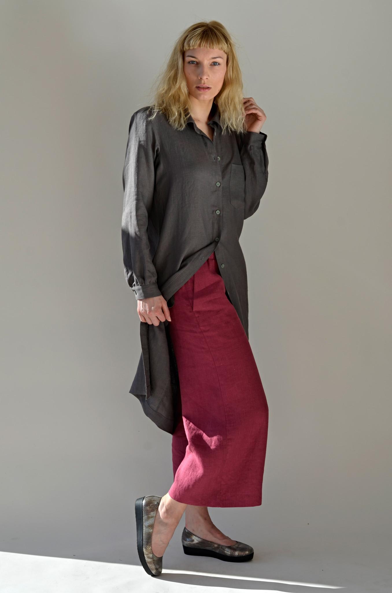 Sukienka lniana koszulowa z szarego, zmiękczanego lnu - Bäckerei Bytom | JestemSlow.pl