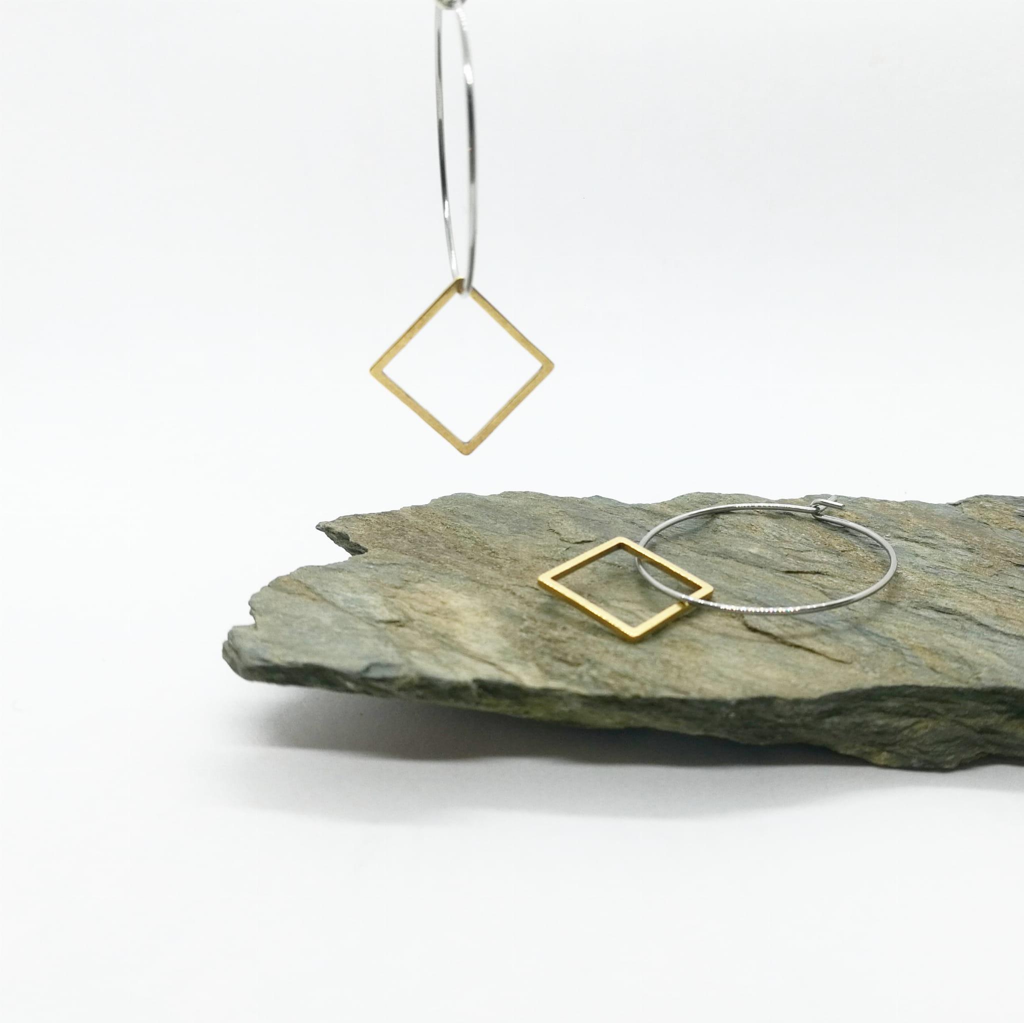 Kolczyki Glam, Koła z kwadratem - Glam by Biżu ARTeria