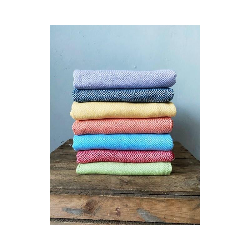 Ręcznik z ręcznie tkanej bawełny peshtemal 180x100 cm Błękitny Bawełna - HisOutfit